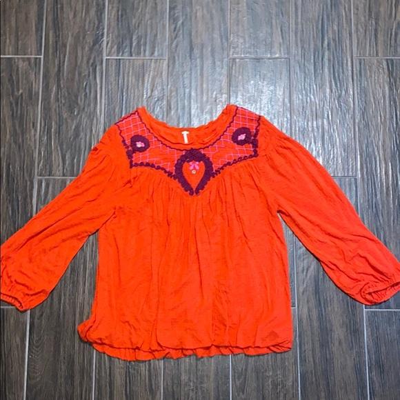 Free People red orange blouse